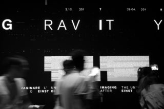 01-MAXXI-Gravity-Exhibition-Design-Entrance-wall-Projection-Light-Motion-Typography-Text