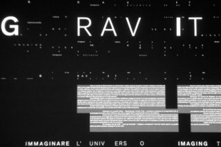 02-MAXXI-Gravity-Exhibition-Design-Entrance-wall-Projection-Light-Motion-Typography
